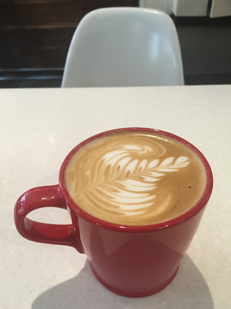 latte art at deville coffee downtown calgary