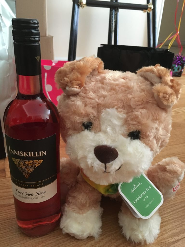 wine and plush toys