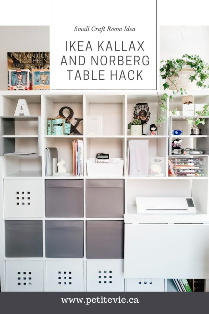 Small Craft Room Idea: IKEA Kallax and Norberg Table Hack